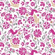 Lewis & Irene - Lindos - 5864 - Floral Print with Deer, Pink on White - A268.2 - Cotton Fabric